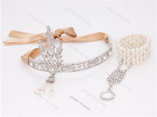Great Gatsby 1920s Headband Vintage Flapper Headpiece Hair Bracelet Ring Set