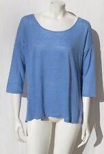 TALBOTS Powder Blue Soft 100% Linen Thin Oversized Tee Shirt Top size M EUC