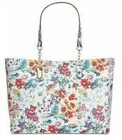 INC Quiin White Floral Silver Quilted Tote Large Purse Bag Padded for Laptop $99
