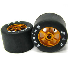 H&R Racing HR1361 6 Spoke 18mm Gold Wheel w/ Rubber Tire (2) 1:24 Slot Car