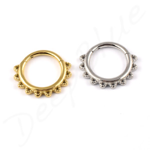 SURGICAL STEEL Hinged Segment Ring FILIGREE LACE Daith Septum Cartilage Ear