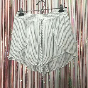 American Eagle Outfitters Womens White + Black Striped Tulip Shorts - Small S