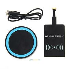 Mini Qi Wireless Charger Pad with Charging Receiver for Android Smartphone NEW