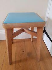Vintage Retro Wooden Kitchen Stool 50's 60's Blue Vinyl Top