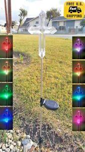 Solar Cross Clear Acrylic Yard Stick Color Change LED Light