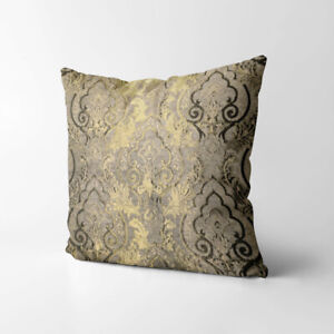 Wk201a Tan Gold Brown Damask Chenille Flower Throw Cushion Cover/Pillow Case