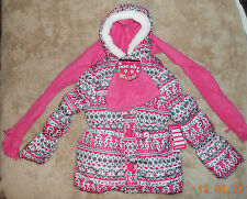 Pink Platinum Pink Print Fleece Lined Puffer Jacket Scarf & Hat Set  10/12 NWT