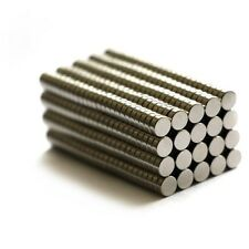 100 Pieces of Dia 4mm x Thk 1.5mm Super Strong Small Neodymium Magnets Silver