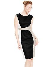 M&S Collection Linen Rich Colour Block Beige White Black Shift Dress M 14 Eur 42