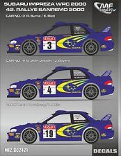 DECALS 1/24 SUBARU IMPREZA WRC  #3 / #4 ou #19 - RALLYE DE SANREMO 2000 - DC2421