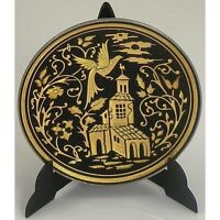 Damascene Gold Dove of Peace Round Miniature Decorative Plate by Midas of Toledo