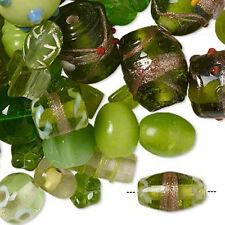 Green Beads Lampwork Glass Handmade Jewelry Peridot Mix Lot of 75