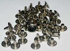 25 TWO PART STRONG  DOUBLE CAP RIVETS  8mm/10mm  BRASS - NICKEL - BLACK