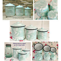 NEW Enamelware Lt Jade / Minty Green Swirl Set of 3 Canisters