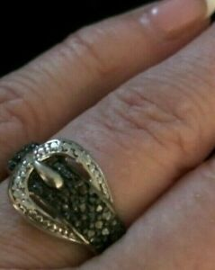 Sterling Silver Pave 1/4ct diamond cut  Buckle Ring,sz.9,NWT