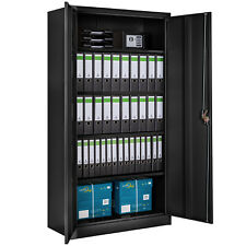 Armoire de bureau metallique meuble de rangement armoire-fichier 2 portes noir
