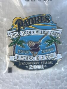 """San Diego Padres Frequent Friar 2001 Pin """"5 Years in a Row"""" Factory Sealed"""""""