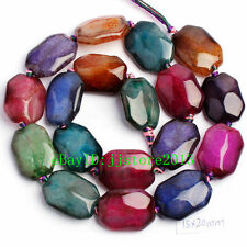 """15x20mm Natural Faceted Cracked Multicolor Agate Gemstone Loose Beads Strand 15"""""""