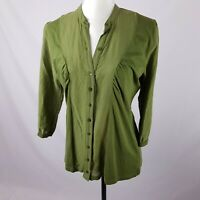 Witchery Shirt Size L Green 3/4 Sleeve