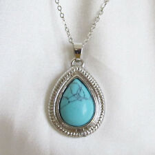 Small Size TURQUOISE HOWLITE Teardrop Shaped Pendant & Chain