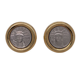 Platinum Yellow Gold US Liberty Coin Vintage Men's Cufflinks Two Tone Gents