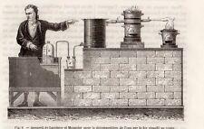 GRAVURE 1890 ENGRAVING INDUSTRIE EAU APPAREIL DE LAVOISIER ET MEUSNIER