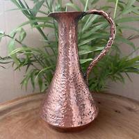Vintage Hammered Copper Small Jug Bud Vase Bohemian Home Decor HANDMADE ISRAEL