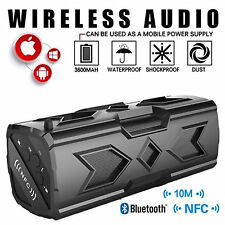 BLACK Waterproof Stereo Wireless Bluetooth 3600mAh Power Bank OUTDOOR SPEAKER