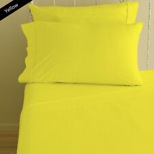 Yellow Solid Queen Size 4 Piece Sheet Set 1000 Thread Count 100% Egyptian Cotton