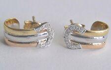 18K (750) DIAMOND TRI-COLOR EARRINGS