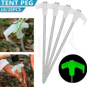 10/20PCs Tent Pegs Heavy Duty Screw Steel In Ground Camping Stakes Outdoor Nail