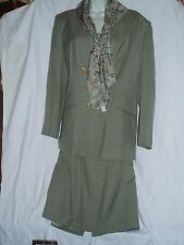 3 PC Kasper ASL Suit Outfit Olive Green Knee Skirt & Blazer Retails $154 Size 16