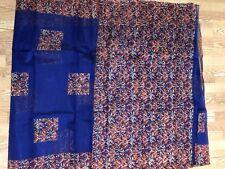 INDIA BHAGALPURI Art silk saree BLUE RED FLORAL Unstitched Blouse USA SELLER