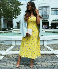BLOGGERS FAV! ZARA YELLOW LONG FLORAL PRINTED FLOWING DRESS, SIZE XL / UK 14 16