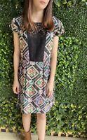 KACHEL stunning Printed Lace Panel Dress Size 10