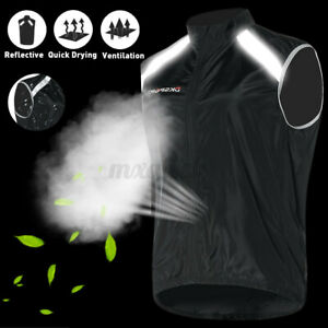 Cycling Vest Windproof Gilet Bike Running Reflective High Visibilit