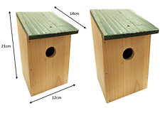 More details for 2 x wooden wood nesting nest boxes bird house small birds blue tit robin sparrow