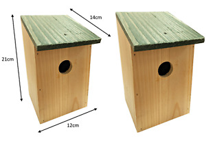 2 x WOODEN WOOD NESTING NEST BOXES BIRD HOUSE SMALL BIRDS BLUE TIT ROBIN SPARROW
