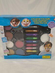 Kids Face Paint Kit/8 Paints, 8 Face Crayons, 2 Make-up Applicators, 2 Sponges