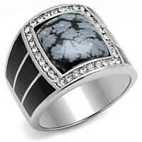 Clear CZ Stone 0.85ctw Silver Stainless Steel Mens Ring