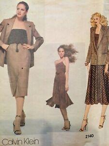Vogue Sewing Pattern 2140 Calvin Klien American Designer Camisole Jacket Skirt 8