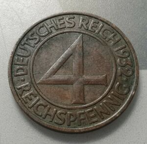 Weimar Germany 4 Reichspfennig 1932 A