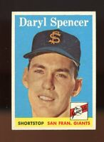 1958 Topps BB Card # 68 Daryl Spencer San Francisco Giants NM-MT OR BETTER