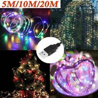 5M/10M/20M USB LED Copper Wire String Fairy Light Strip Christmas Party Deco UK
