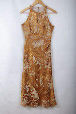 L218/73 Precis Petite Gold Silk Blend Evening KeyHole Sexy Dress, size 8
