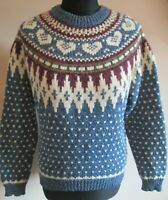 VTG Ladies WOOLRICH Blue Multi Wool Mix Patterned Jumper Size Small (19)