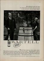 1959 Martell Cognac Brandy Men Around Fire Barrel Laughing Print Ad 2231
