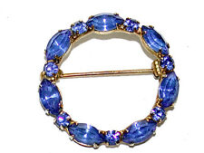 Beautiful Vintage Blue Marquis & Round Cut Crystal Sapphire Round Pin