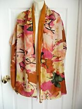 """ECHO NWT Scarf Pashmina Doublesided Featherweight Floral to Rusty Orange 20""""x74"""""""
