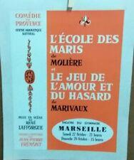 AFFICHE ANCIENNE COMEDIE DE PROVENCE MOLIERE MARIVAUX THEATRE GYMNASE MARSEILLE